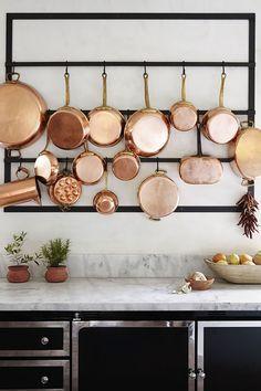 large hanging rack for copper pans