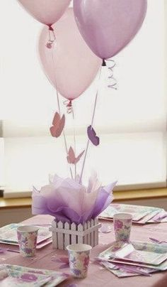 40 ideas with Balloons Butterfly Centerpieces, Butterfly Birthday Decorations, Butterfly Baby Shower Butterfly Centerpieces, Balloon Centerpieces, Baby Shower Centerpieces, Baby Shower Decorations, Lavender Centerpieces, Christening Table Decorations, Butterfly Table Decorations, Purple Party Decorations, Easter Centerpiece