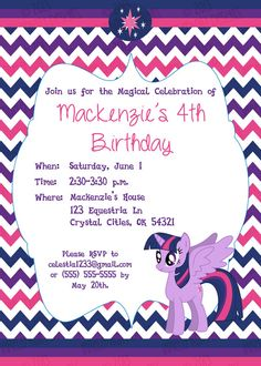 Alicorn Princess Twilight Sparkle birthday Invitation (My Little Pony) by Irrelephant Designs