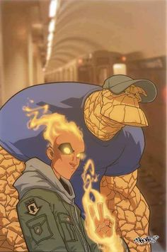 The Thing and The Human Torch by Skottie Young
