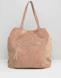 Pink | Pull&Bear Suedette Shopper In Dusky Pink at ASOS