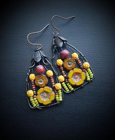 Flowers, Wire Wrapped, Hoops, Blossom Series, Peach, Flowers, Vine, Artisan Made, Glass, Organic, Rustic, Unique, Beaded Earrings