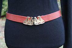 SAILBOAT-BELT-Vintage-Mimi-Di-N-Brown-Leather-Adjustable-Removable-Buckle