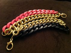 Two Toned Chunky Chain Bracelet  Black and Gold by eycollection, $20.00.  I want!
