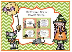 Halloween Brain Break Cards from Preschool Printables on TeachersNotebook.com - (6 pages) - The benefits of brain breaks… 1. Improve focus 2. Motivate students 3. Re-energize students for learning 4. Rainy day & indoor fun 5. Just plain fun!