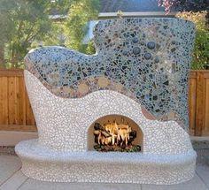 mosaic fireplace- OUTSIDE!