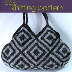 Striped Squares Bag, Knitted Bag, Modular Knitting Pattern PDF £3.00