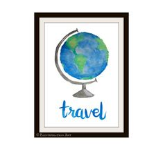 Watercolor Painting Globe Art Print Office Decor by Paintspiration