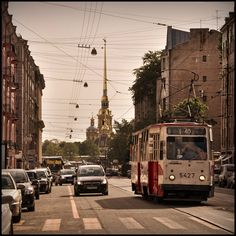 A tramcar in Saint Petersburg, Russia