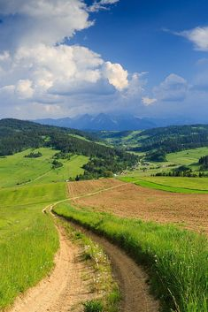 A country lane with storm clouds in the distance over the High Tatra Mountains (Poland) by Bartek Rozanski Beautiful Roads, Beautiful Places To Visit, Beautiful Landscapes, Country Life, Country Roads, Travel Route, Travel Oklahoma, Fotografia Macro, Way To Heaven