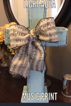 Music bow. Rustic wood standing cross on Etsy at MLOldruggedcrosses