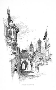 Beyond Architectural Illustration: Inspiration - Bertram Grosvenor Goodhue Drawing Sketches, Art Drawings, Building Sketch, Urban Sketchers, Architecture Drawings, Ink Illustrations, City Art, Land Scape, Painting & Drawing