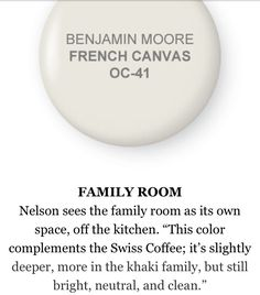 French Canvas by Benjamin Moore-for neutral color!