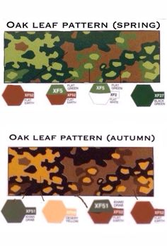 German oak leaf pattern camouflage worn by the German waffen SS in ww2, painting guide for Tamiya paints