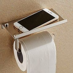Make your toilet paper holder into a shelf preventing any accidental cell phone drownings.