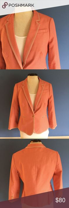 """The Limited Salmon Blazer Hello!  This is an amazing Blazer that will make you feel like a million bucks!  Pair with a skirt, jeans or leggings.  The blazer is lined.  Slit in the back.  Measurements (Flat):  Length - 21""""in front, 22"""" in back/Bust - 18""""/Waist -17"""" The Limited Jackets & Coats Blazers"""