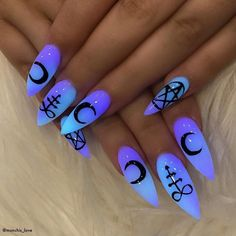 Top Coffin Nails Ideas For This Summer 2019 Page 10 . Top coffin nails ideas for this summer 2019 page 10 coffin nails designs for summer - Coffin Nails Summer Acrylic Nails, Best Acrylic Nails, Summer Nails, Nail Swag, Gothic Nail Art, Dark Nail Art, Witchy Nails, Fire Nails, Neon Nails