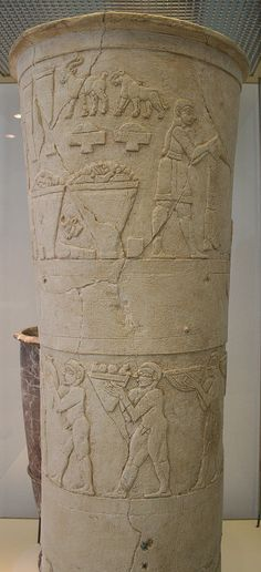 The Warka Vase,Vorderasiatisches Museum (Near East Museum), Berlin.The Warka Vase is a carved alabaster stone vessel found in the temple complex of the Sumerian goddess Inanna in the ruins of the ancient city of Uruk.