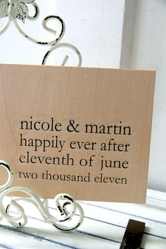 """Wedding Wood Guest book / Album / Notebook (9"""" x 6"""") - Happily Ever After - Custom Names and Date"""
