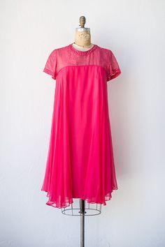 vintage 1960s hot pink rhinestone cocktail dress