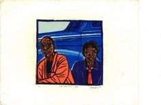 """2nd Class"" Taxi, Johannesburg, 1975""- linocut by Norman Kaplan. http://normankaplan.co.za/ Tags: Linocut, Cut, Print, Linoleum, Lino, Carving, Block, Woodcut, Helen Elstone, Anti-apartheid, Exile, South Africa, Dignity, Political."