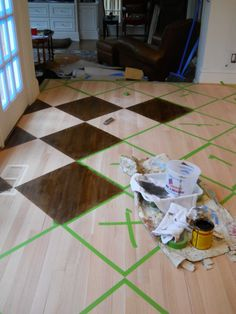 How to paint/stain a pattern on a wood floor by artist Arlene Mcloughlin