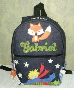 mochila infantil para crianças de 1 a 3 anos, para levar tanto para escolinha, quanto somente para  carregar brinquedos, personalizada com nome da criança bordado aplique,tema pequeno princepe