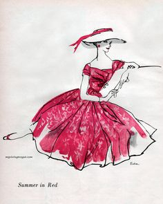 Summer in Red dress by Mollie Parnis, 1956. Sketch by Erica.