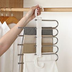 Stylish and Durable: Our metallic Pants Rack is durable, rustproof, and stylish. Space Saving Design: The adjustable storage rack can be hung steadily with t Pants Rack, Trouser Hangers, Clothes Hangers, Hanging Pants, Organizar Closet, Bedroom Closet Design, Clothing Storage, Storage Rack, Closet Organization