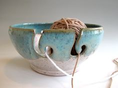Double Ball Yarn Bowl in White and Turquoise