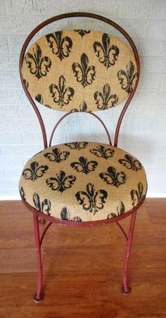 Vintage Iron Indoor/Outdoor Burlap Upholstered Chair/vintage