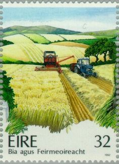 Stamp: Agriculture - Harvesting Cereals (Ireland) (Irish Agriculture) Mi:IE…