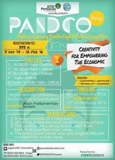 #Pandco #Perbanas #Surabaya #Lomba #Debat #English PANDCO 2016 Perbanas Amazing Newbie Debate Competition  DEADLINE: February 12th, 2016  http://infosayembara.com/info-lomba.php?judul=pandco-2016-perbanas-amazing-newbie-debate-competition
