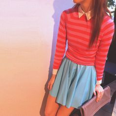 Zimmerman | Scarlet/Guava Stripe Sweater + Rising Leather Skirt in Capri