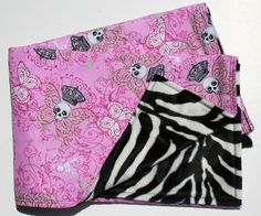 Punk Princess Skulls Zebra Baby Blanket by bubblecakes on Etsy, $40.00