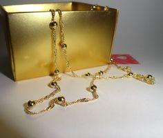 Cordão 60cm folheado a ouro
