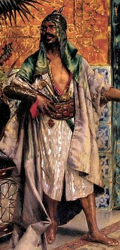 Harem Guard (detail view). Rudolf Ernst later exhibiting as Rodolphe Ernst. An Austro-French painter, printmaker and ceramics painter who is best known for his orientalist motifs. Born: 1854, Died: 1932.