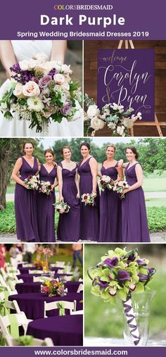 Dark purple bridesmaid dresses color ideas with green for spring wedding 2019 good with wedding bouquets table cloth flower decorations in weddings. Purple And Green Wedding, Spring Wedding Colors, Purple Wedding Flowers, Purple Wedding Themes, Purple Wedding Centerpieces, Purple Bouquets, Lilac Wedding, Trendy Wedding, Dark Purple Bridesmaid Dresses