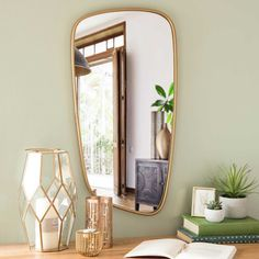 Anzio - Spiegel aus goldfarbenem Metall 40x70cm