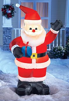 5be12788480ba Lighted Inflatable Santa Claus Yard Decoration