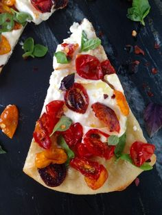 Burrata Pizza Recipe, thin crust, creamy burrata & sweet oven roasted cherry tomatoes | CiaoFlorentina.com
