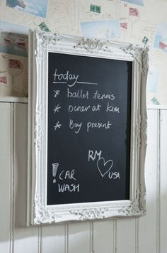 I love this old victorian looking frame to hold a chalk board. Looks shabby-chic Memo Boards, Displays, Chalk It Up, Blackboards, Home Deco, Tricks, Home Remodeling, Chalkboard, Sweet Home