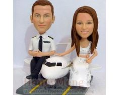 Buy Airplane Pilot themed wedding cake toppers Pilot groom cake topper Head to toe personalized made from photo-1572 by honeymeng. Explore more products on http://honeymeng.etsy.com