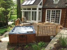 do you like hot tubs on a deck or built in, decks, outdoor living, patio, pool designs, spas, Our client had an unusable sloping rear yard We added a mahogany deck with rails and a built in hot tub