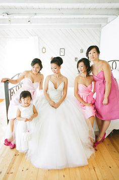 Shades of pink for the bridesmaids