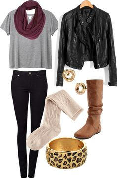 """Comfy Fall Outfit"" by ainsley-miller on Polyvore grey tshirt, plum scarf, black leather jacket, cream knit socks, brown boots"