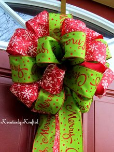 Up for your consideration is a lime green & red Christmas bow.    Wire edge ribbon. Two different patterns were used. One is lime green with