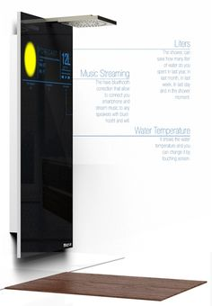 Interactive shower that judges your body temperature, water usage and updates you on current affairs.