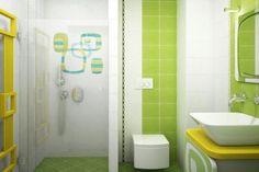 Санузел с душевой кабиной в зеленом цвете
