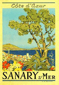 Sanary / Toulon / Provence French Riviera - Cote d'Azur Vintage travel poster #essenzadiriviera
